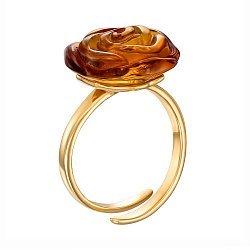 Серебряное кольцо с янтарем и позолотой 000137640