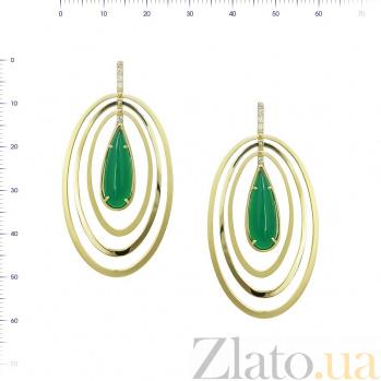 Серьги из желтого золота Саломи с зеленым агатом и фианитами 000081440