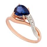 Золотое кольцо с сапфиром и бриллиантами Лаздона