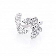 Серебряное разомкнутое кольцо Сияющие бабочки в усыпке фианитов в стиле Ван Клиф