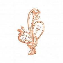 Брошь в красном золоте Нежные цветочки с фианитами