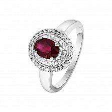 Кольцо в белом золоте Беата с рубином и бриллиантами