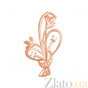 Брошь в красном золоте Нежные цветочки с фианитами 000122643