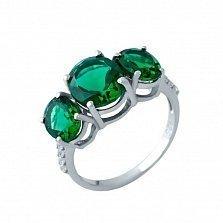 Серебряное кольцо Юни с синтезированными изумрудами и белыми фианитами