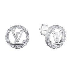 Серебряные серьги-пуссеты с фианитами в стиле Луи Виттон 000070136