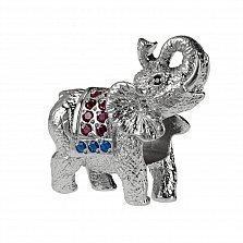 Серебряный шарм Слон с синтетическими корундом и шпинелью