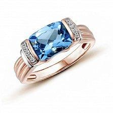 Кольцо в красном золоте Рианна с голубым топазом и бриллиантами