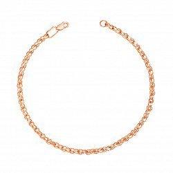Браслет из красного золота с алмазной гранью в плетении бисмарк ручеек 000134713