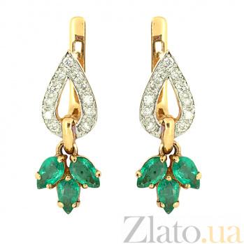 Серьги из красного золота с изумрудами и бриллиантами Санти ZMX--EE-6537_K