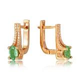 Золотые серьги с изумрудами и бриллиантами Элейн