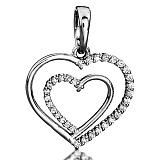 Серебряная подвеска Единство двух сердец с фианитами