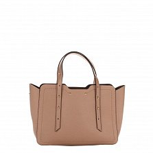 Кожаная деловая сумка Genuine Leather 8920 розового цвета с фигурными краями и мелкими заклепками