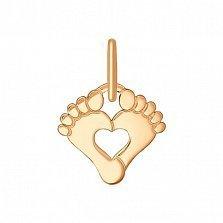 Золотая подвеска Ножки с сердечком