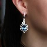 Серебряные серьги с кварцем London blue Василиса