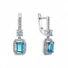 Серебряные серьги-подвески Антоя с голубым топазом и фианитами