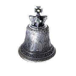 Бронзовый колокольчик Свято-Духовский скит с зелеными фианитами 000004475