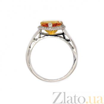 Кольцо в белом золоте с цитрином и бриллиантами Флавия ZMX--RCt-6608w_K