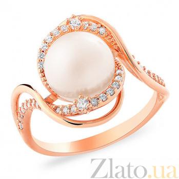 Золотое кольцо с жемчужиной и фианитами Фелиция SUF--153226