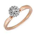 Золотое кольцо Камелия с бриллиантами