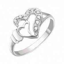 Серебряное кольцо Романтика для двоих с фианитами