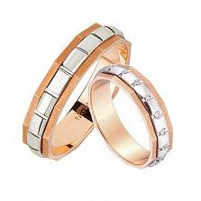 Золотое обручальное кольцо Нью-Йорк в красном и белом цвете