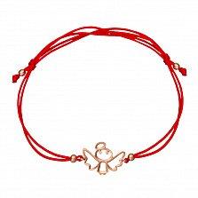 Шелковый браслет Херувим в красном золоте с фианитами