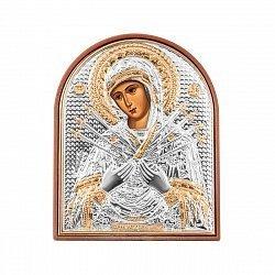 Икона Семистрельная Богородица с серебрением 000133801