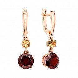 Серьги-подвески из красного золота с гранатами и цитринами 000127185