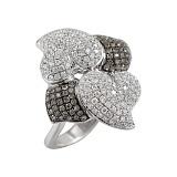Золотое кольцо с бриллиантами Биение сердец