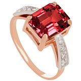 Золотое кольцо с гранатом и фианитами Айлин