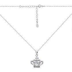 Серебряное колье с короной и фианитами в плетении Форза 000132394
