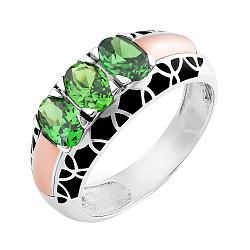 Серебряное кольцо Гульмира с золотой накладкой, зеленым альпинитом и черной эмалью
