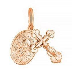 Серебряный крестик с ладанкой Берегиня с позолотой 000025228