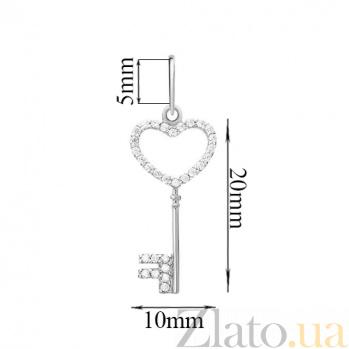Подвеска из белого золота с цирконием Ключ от сердца SUF--440438б