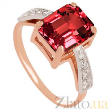 Золотое кольцо с гранатом и фианитами Айлин 000029477