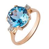 Кольцо из красного золота  Ядвига с голубым топазом