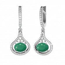 Серебряные серьги-подвески Алисия с зеленым агатом и фианитами