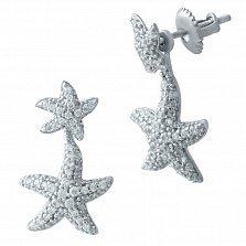 Серебряные серьги-подвески Морские звездочки с фианитами