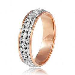 Обручальное кольцо в комбинированном цвете золота с фианитами 000001606