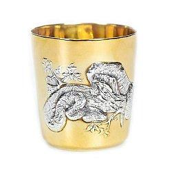 Серебряный стакан Змея с позолотой