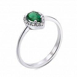 Кольцо из белого золота с изумрудом и бриллиантами 000134496