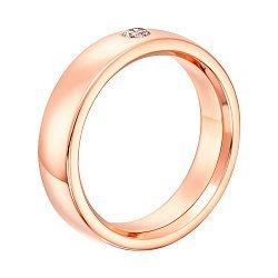 Золотое обручальное кольцо Нежность в красном цвете с бриллиантом