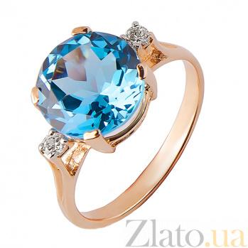 Кольцо из красного золота  Ядвига с голубым топазом TRF--112010н