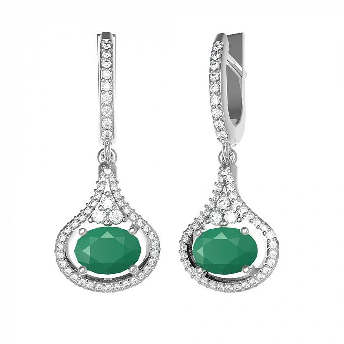 Серебряные серьги-подвески Алисия с зеленым агатом и фианитами 000079733