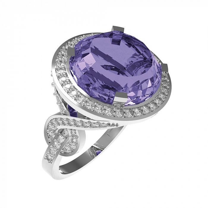Серебряное кольцо Миранда с аметистом и фианитами 000079685