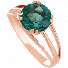 Золотое кольцо Лия с синтезированным зеленым аметистом