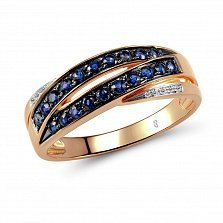 Кольцо из красного золота Рейчел с бриллиантами и сапфирами