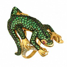 Кольцо из желтого золота Варан с фианитами