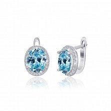 Серьги из серебра Полидора с голубыми и белыми фианитами
