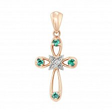 Золотой крестик Обет с изумрудами и бриллиантом